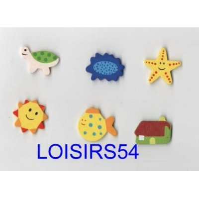 Stickers bois coloré 6 pieces animaux