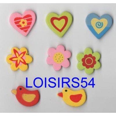 Stickers bois coloré 8 pieces coeur et étoiles