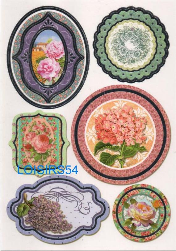 Stickers roses et fleurs autocollants pour scrapbooking