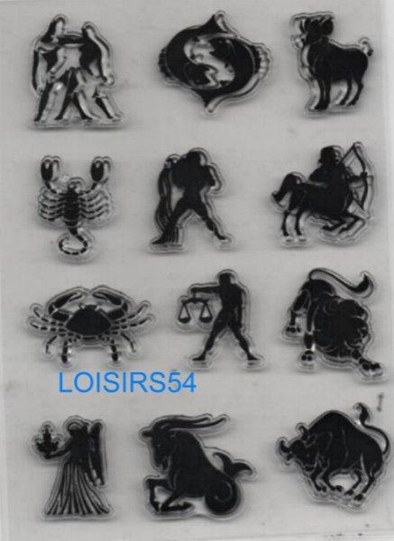 Tampon transparent 12 signes du zodiaque pour décoration 12 pièces