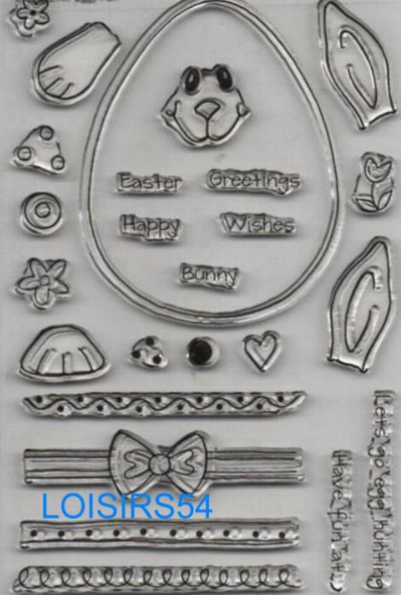 Tampon transparent Pâques pour décoration 19 pièces