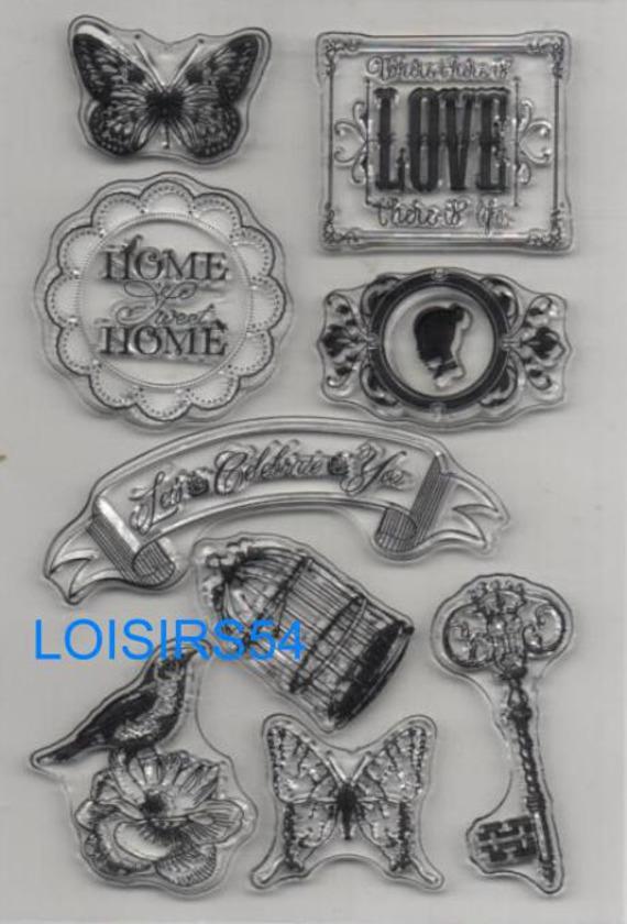 Tampon transparent love et papillons pour décoration 9 pièces