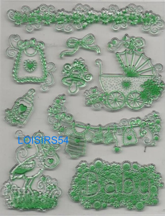 Tampon transparent naissance pour décoration 9 pièces