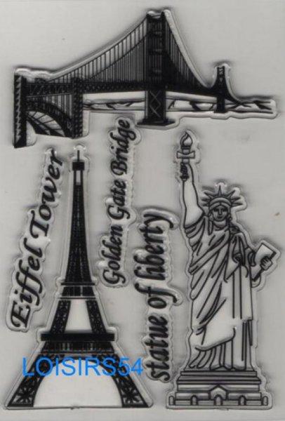 Tampon transparent tour Eiffel  et New York pour décoration 3 pièces