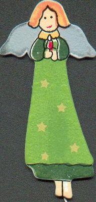 Ange en bois moderne de Noël vert