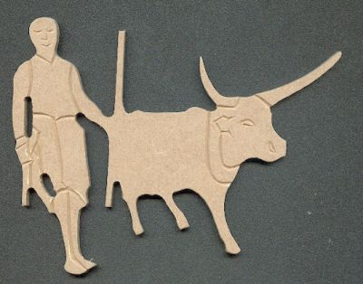 Boeuf et homme Massai MDF à peindre 170 mm x 70 mm