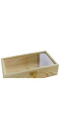 Boîte à bijoux en bois couvercle transparent
