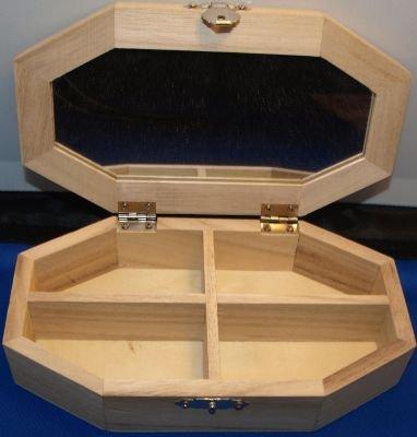 Boîte à bijoux en bois+ miroir 175 mm x 100 mm x 40 mm