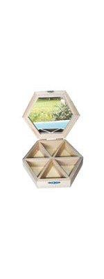 Boite à bijoux hexagone + miroir 160 x 40 mm