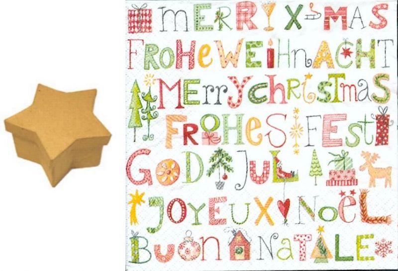 Carton boite carton etoile 80 mm x 50 mm joyeux noel - Fourniture loisirs creatifs ...