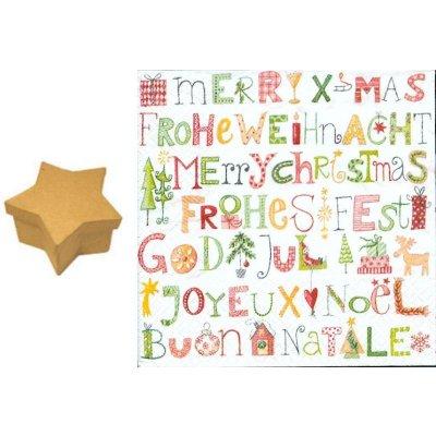 Boite carton Etoile 80 mm x 50 mm + joyeux Noel