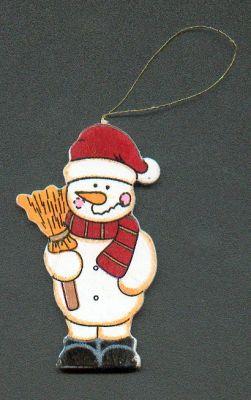 Bonhomme de neige en bois avec petit balai