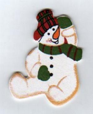 D co no l bonhomme de neige en bois peint 5 cm - Bonhomme de neige en bois ...