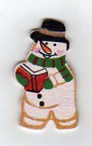 Bonhomme de neige avec livre en bois peint 5 cm