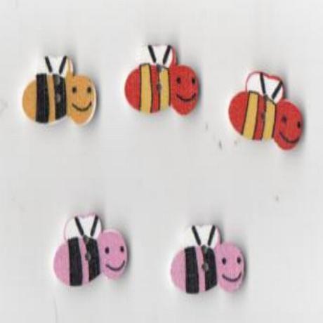 Boutons bois motif guêpes lot de 5 pièces 2 cm