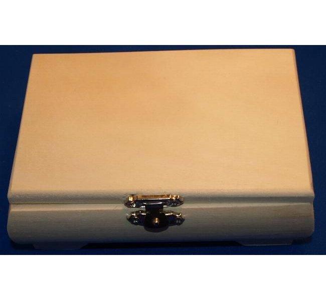 Parure bijoux fantaisie+boîte à bijoux bois brut 145 mm x 100 mm x 53 mm + tissu