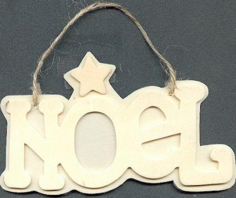 Cadre Noël bois avec photos 130 mm x 70 mm
