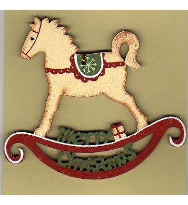 Cheval bois peint 9 cm