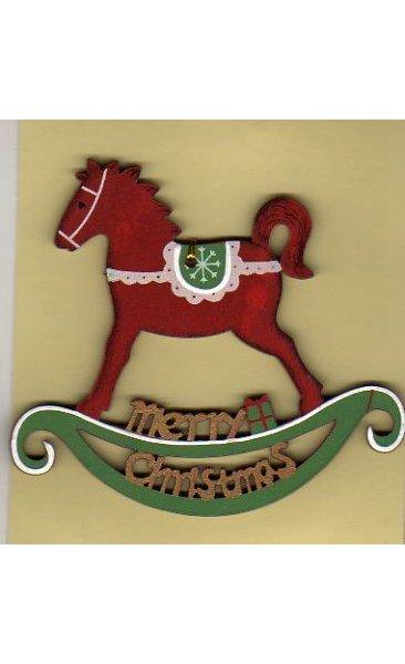 Cheval bois peint rouge 9 cm