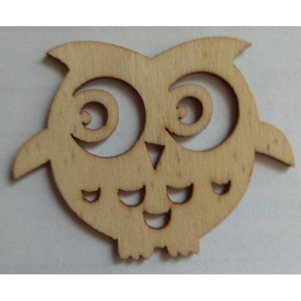 Chouette bois 48 mm x 38 mm  découpe laser à décorer