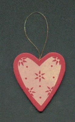 Coeur en bois rouge et or