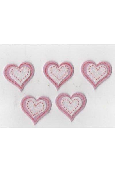Coeur feutrine rose et blanc autocollant 35 mm