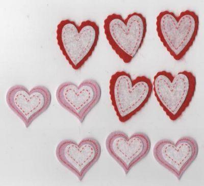 Coeurs feutrine autocollant lot de 10