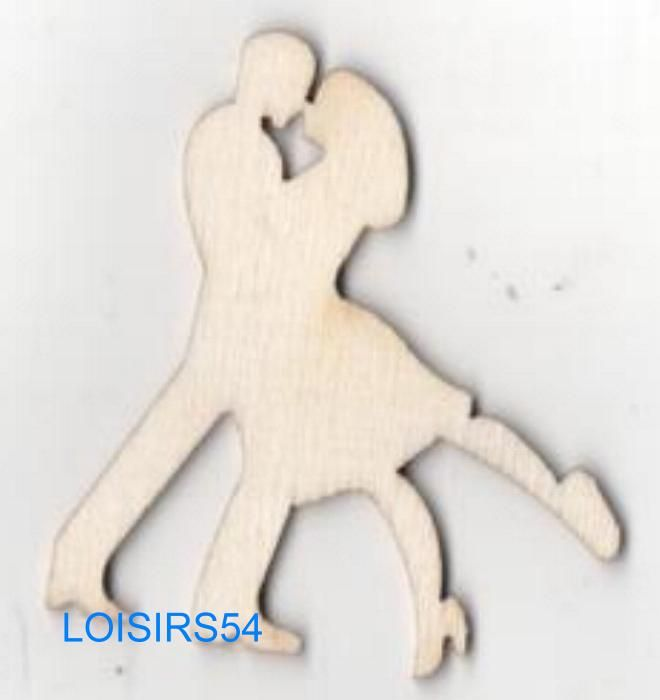 Couple de danseurs bois 50 mm x 40 mm à décorer