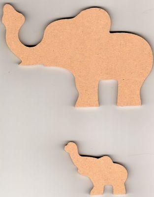 Eléphant et son petit MDF 150 mm x 50 mm