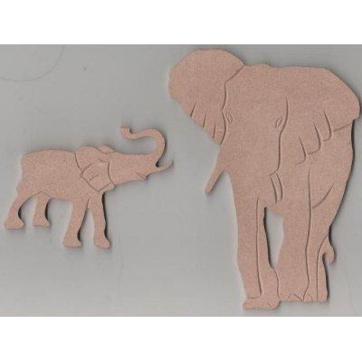 Gros Eléphant et son petit MDF 160 mm x 70 mm
