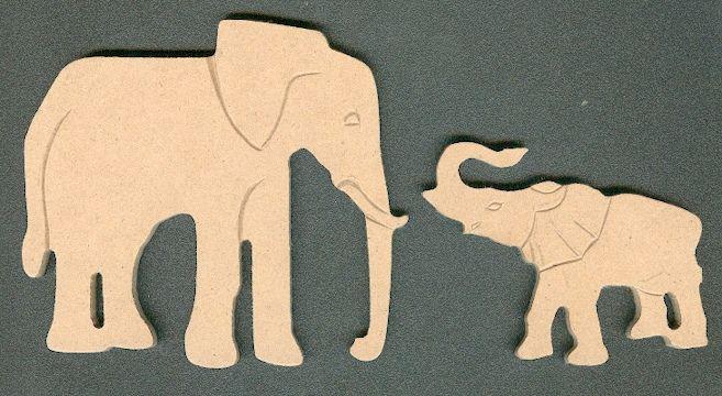 Eléphant et son petit MDF à peindre 110 mm x 50 mm