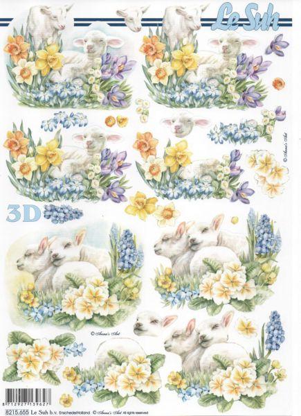 Feuille 3d fleurs feuille 3d agneau et jonquilles - Fournitures loisirs creatifs ...
