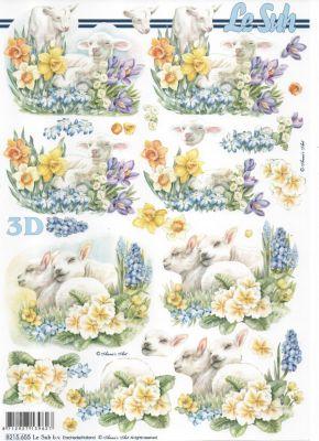 Feuille 3d fleurs feuille 3d agneau et jonquilles - Fourniture loisirs creatifs ...