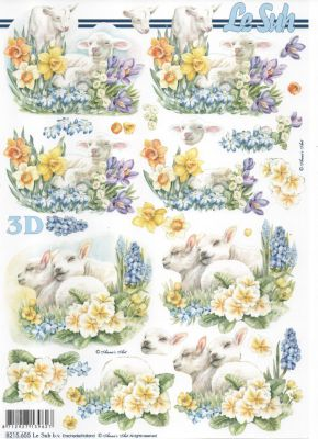 Feuille 3D agneau et jonquilles