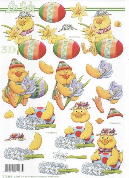 Feuille 3D canard jaune