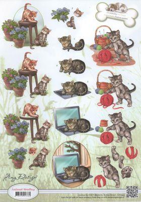 Feuille 3D 2 chatons et fleurs