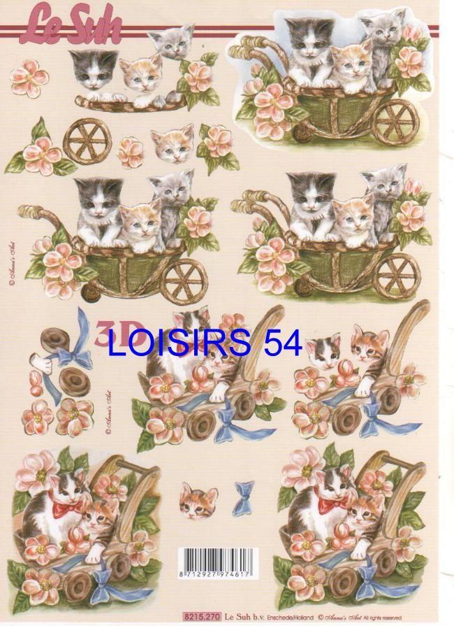 Feuille 3D 3 chatons et fleurs