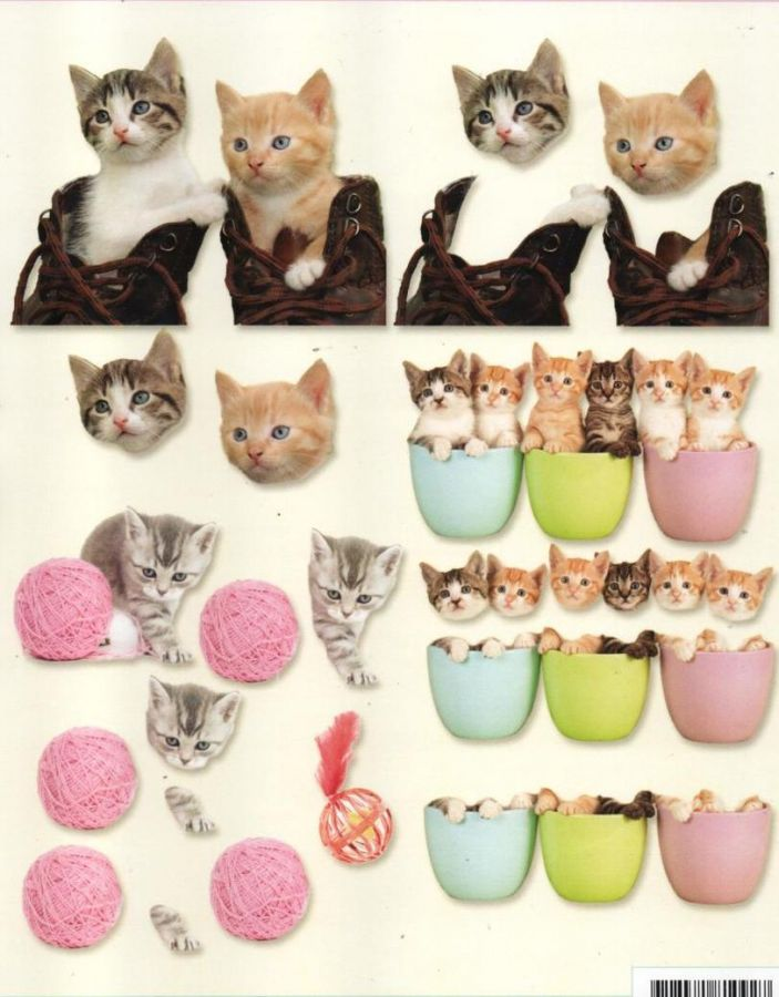 Feuille 3D chatons et pelote de laine