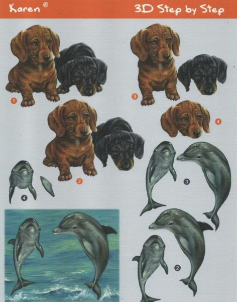 Feuille 3D chiens et dauphins