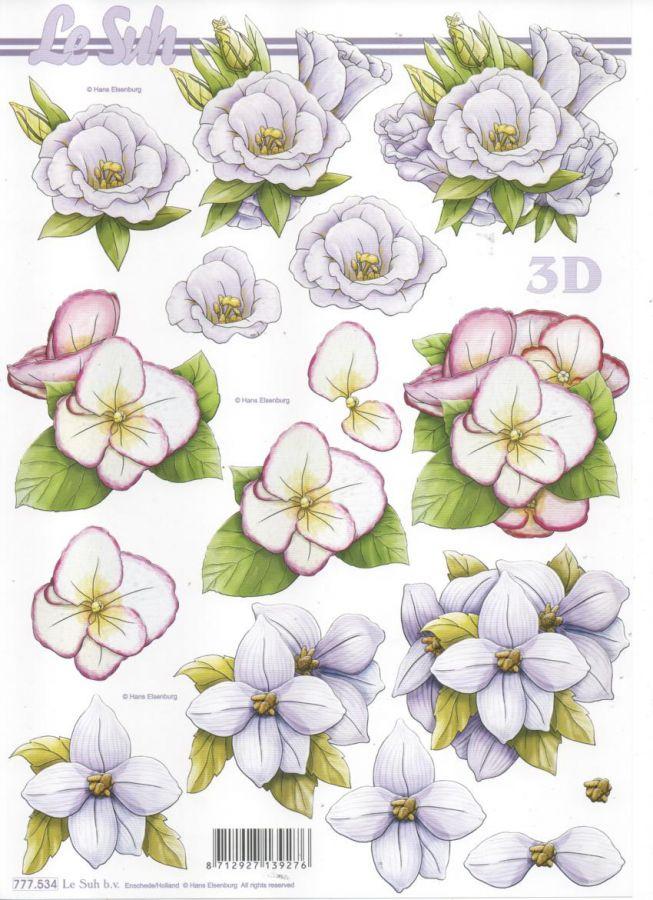 Feuille 3D fleurs blanche et violette pour découpage