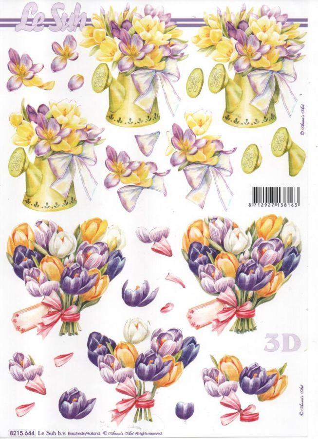 Feuille 3d fleurs feuille 3d fleurs bleu et blanche - Fournitures loisirs creatifs ...