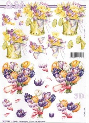 Feuille 3D fleurs bleu et blanche