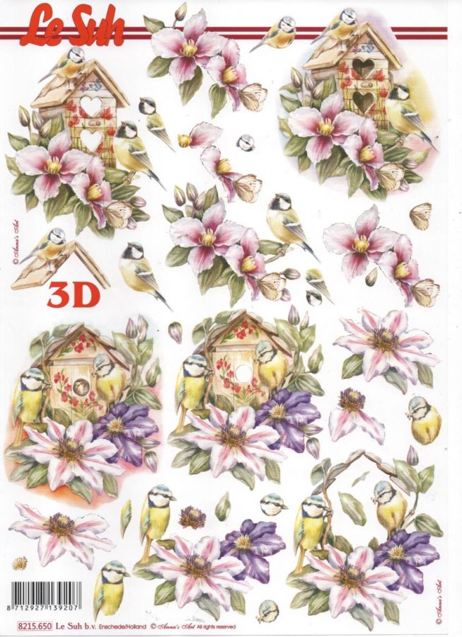 Feuille 3D fleurs et mésanges