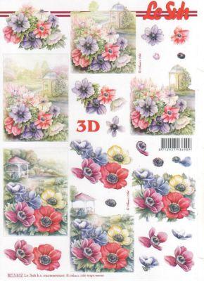 Feuille 3D fleurs et nature