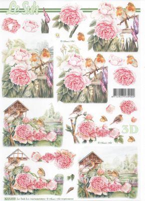 Feuille 3D fleurs et oiseaux