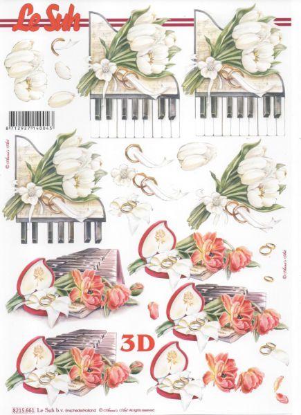 Feuille 3D fleurs et piano