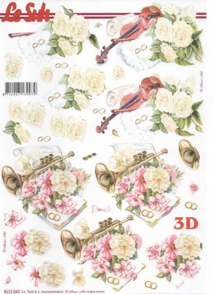 Feuille 3D fleurs et violon