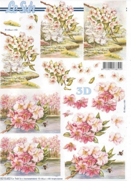 Feuille 3D Iris rose et blanc