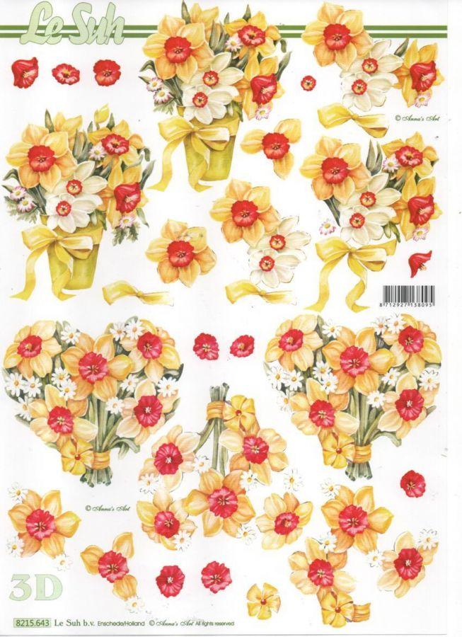 Feuille 3d fleurs feuille 3d jonquilles et printemps - Fournitures loisirs creatifs ...