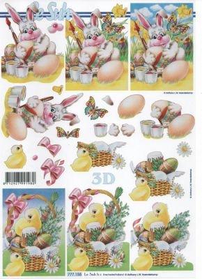 Feuille 3D lapin Pâques et poussin
